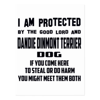 I'm protected by good lord and Dandie Dinmont Terr Postcard