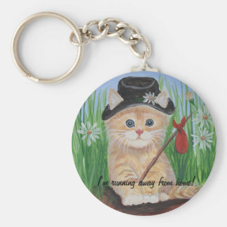 I'm running away from home! basic round button key ring