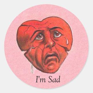I'm Sad Crying Heart Face Round Sticker
