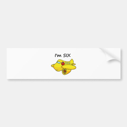 I'm Six, Yellow Plane Bumper Sticker