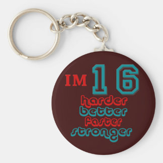I'm Sixteen. Harder Better Faster Stronger! Birthd Key Ring