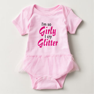 I'm So Girly I Cry Glitter pink tutu bodysuit