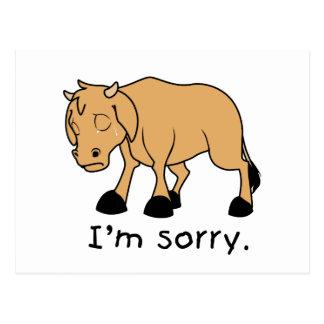 I'm Sorry Brown Crying Sad Weeping Calf Card Stamp Postcard