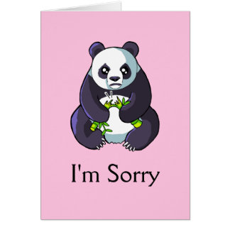 I'm Sorry Cute Sad Panda Drawing Card Template