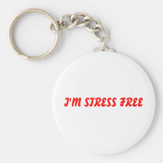 I'M STRESS FREE BASIC ROUND BUTTON KEY RING