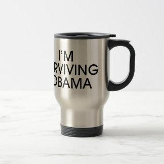 I'M SURVIVING OBAMA-black ink Travel Mug