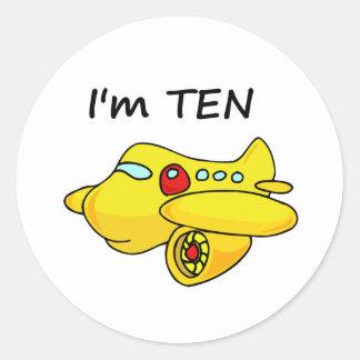 I'm Ten, Yellow Plane Round Sticker