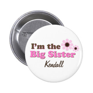 I'm The Big Sister Mod Flowers Personalized 6 Cm Round Badge
