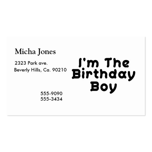 I'm The Birthday Boy Business Card Template