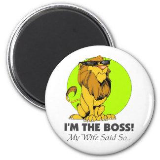 I'm the Boss Lion 6 Cm Round Magnet