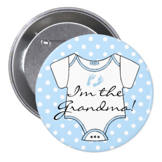I'm The Grandma  Blue Baby Footprints Personalized 7.5 Cm Round Badge