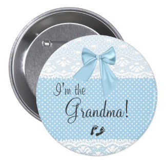 I'm The Grandma Blue Lace 7.5 Cm Round Badge