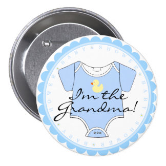 I'm The Grandma Blue Scalloped Yellow Duck Shower 7.5 Cm Round Badge