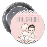 I'm the Grandma - Boy and Girl Twins Baby Shower 7.5 Cm Round Badge