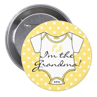 I'm The Grandma Yellow and White Polka Dots Baby 7.5 Cm Round Badge