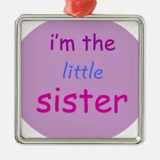 I'm the little sister Silver-Colored square decoration