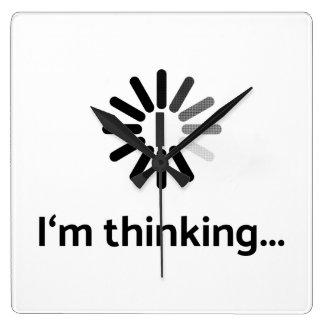 I'm thinking (loading | nerd) white background square wall clock