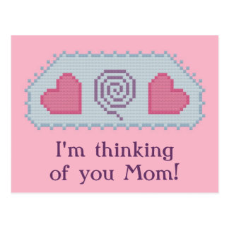 I'm thinking of you Mom! Hearts Spiral Postcard