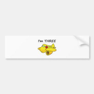 I'm Three, Yellow Plane Bumper Sticker