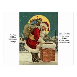 I'm Too Old For Chimney Diving! Santa Christmas Postcard