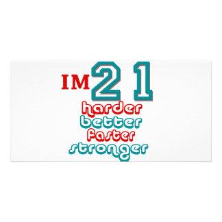 I'm Twenty One. Harder Better Faster Stronger! Bir Customized Photo Card