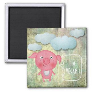 I'M VEGAN SWEET RUSTIC PINK PIG SHINY GOLD SQUARE MAGNET
