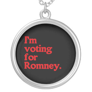 I'M VOTING FOR ROMNEY ROUND PENDANT NECKLACE
