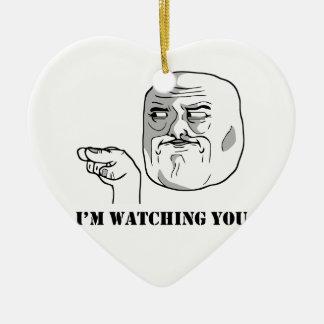 I'm watching you - meme ceramic heart decoration