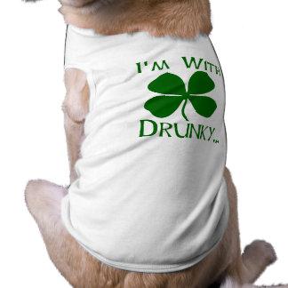 I'm With Drunky Sleeveless Dog Shirt
