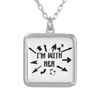 I'm With Her arrows Silver Plated Necklace