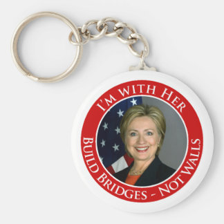 I'm with Her - Build Bridges not Walls -white back Basic Round Button Key Ring