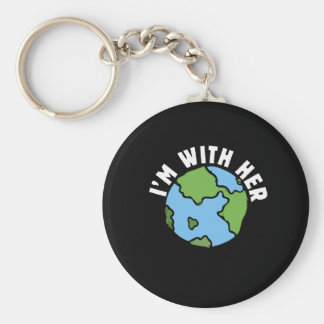 i'm with her earth basic round button key ring