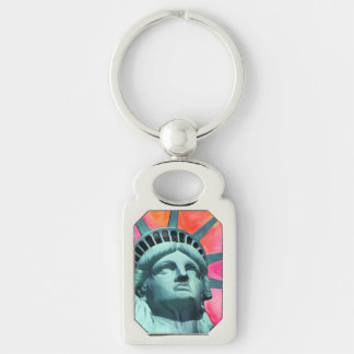 I'm with her - Lady Liberty - Statue of Liberty Silver-Colored Rectangle Key Ring