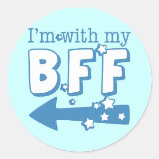 I'm With My BFF (left) Round Sticker