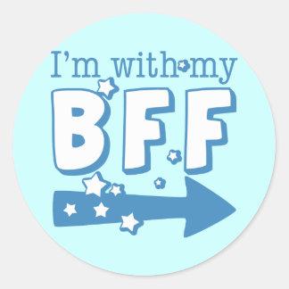 I'm With My BFF (right) Round Sticker