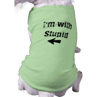 I'm With Stupid - arrow left - Dog Tank Shirt
