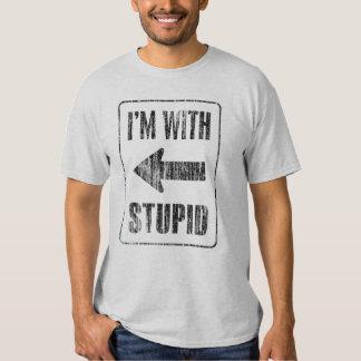 I'm with stupid [left] t shirt