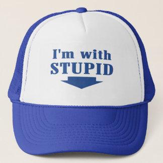 I'm with Stupid Trucker Cap