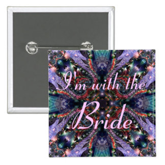 I'm with the Bride - Lilac Jewels 3 Button 15 Cm Square Badge