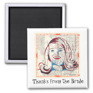 I'm with the Bride Square Magnet