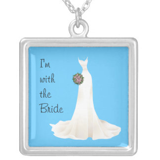 i'm with the bride square pendant necklace