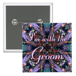 I'm with the Groom - Lilac Jewels 3 Button 2 Inch Square Button