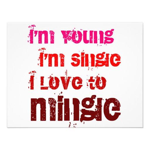 I'm Young I'm Single I Love To Mingle Custom Invitations