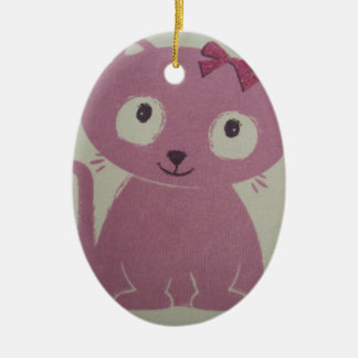 image of a cat ceramic oval decoration