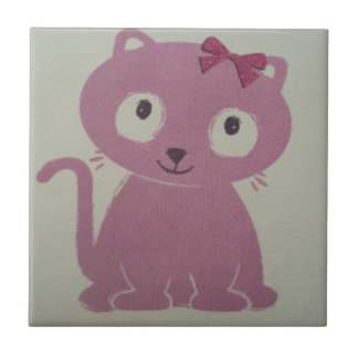 image of a cat small square tile