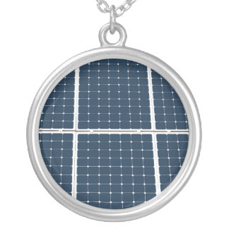 Image of a solar power panel funny silver plated necklace