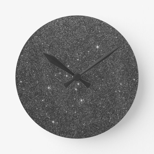Image of Black and Grey Glitter Wall Clocks