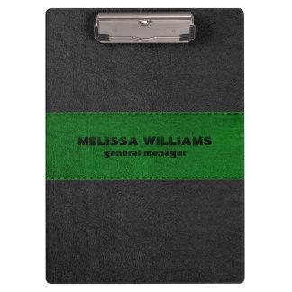 Image Of Black & Green Vintage Leather Stripes Clipboard