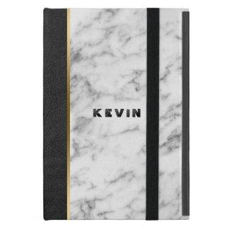 Image Of Black Leather & White Marble Case For iPad Mini