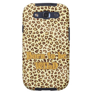 """Image of Glitter """"Born to be Wild"""" on Leopard Galaxy S3 Cover"""